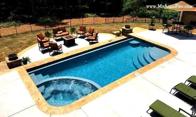 beautiful pool design, fiberglass, infinity edge, inground pools